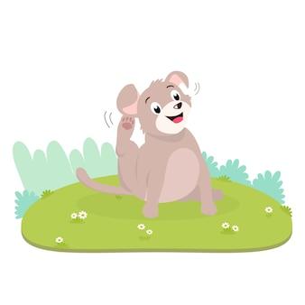 Le chien qui démange essaye de se gratter la peau qui démange, causant par la puce à l'intérieur de la fourrure.