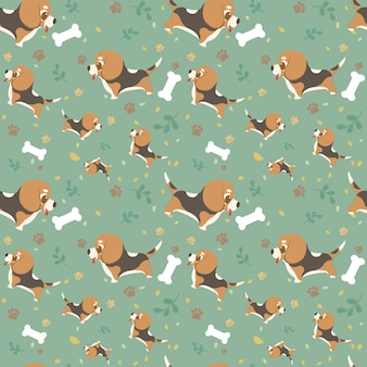 Chien de race dessin animé modèle sans couture beagle avec des pattes, des feuilles et des os.