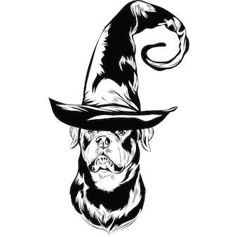 Chien rottweiler en chapeau de sorcière pour halloween