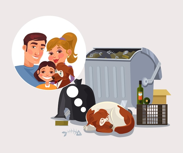 Chien sans-abri se souvient de l'illustration de dessin animé de famille
