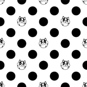 Chien sans couture modèle bouledogue français polka dot cartoon