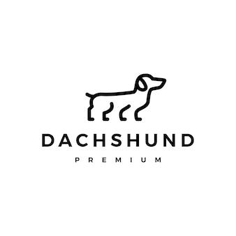 Chien saucisse teckel logo icône illustration style de contour de ligne