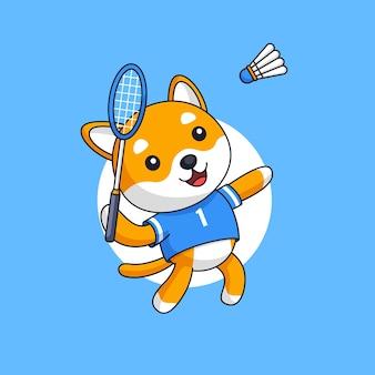 Chien sauter smash jouer au badminton