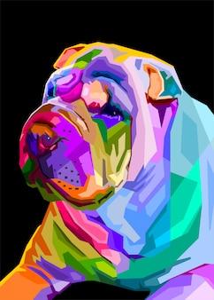 Chien shar pei coloré sur le style pop art. illustration vectorielle