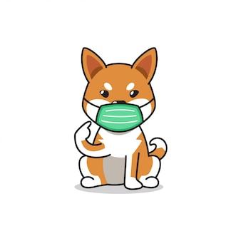 Chien shiba inu de personnage de dessin animé portant un masque protecteur