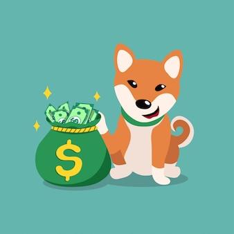 Chien shiba inu avec sac d'argent, personnage de dessin animé