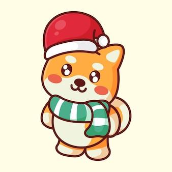 Chien shiba mignon avec chapeau de noël