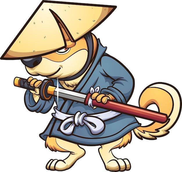 Chien shiba avec tenue de ronin japonais