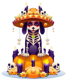 Chien squelette et lanterne citrouille symbole jour férié des morts au mexique dia de muertos