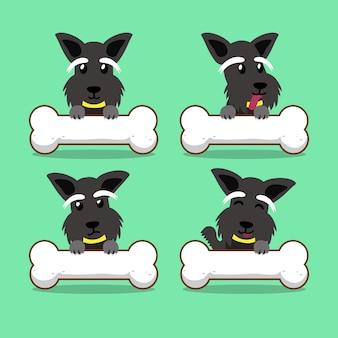Chien terrier écossais de dessin animé avec de gros os