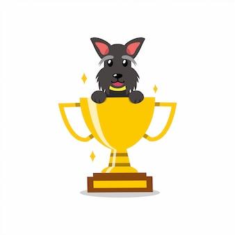 Chien de terrier écossais de personnage de dessin animé avec le trophée de la coupe du trophée d'or