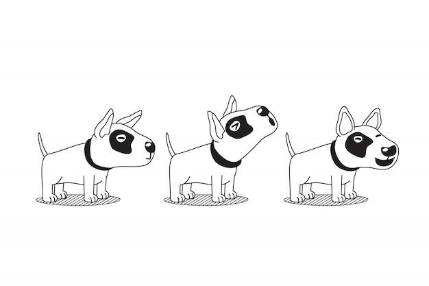 Chien de terrier de vecteur de personnage de dessin animé pose