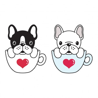 Chien vecteur bouledogue français dessin animé tasse de café