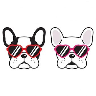 Chien, vecteur, bulldog français, coeur, lunettes soleil, caricature