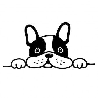 Chien vecteur bulldog français dessin animé chiot