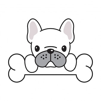 Chien, vecteur, dessin animé, bulldog français, os