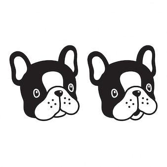 Chien vecteur dessin animé personnage bulldog français