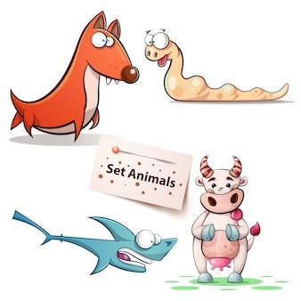 Chien, ver, vache à requin - set animaux