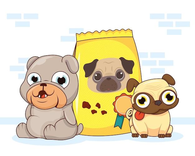 Chiens animaux de compagnie et personnages de sacs de nourriture