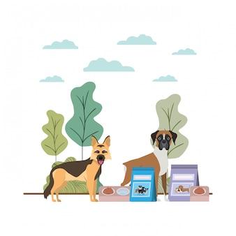 Chiens avec bol et nourriture pour animaux de compagnie sur le paysage