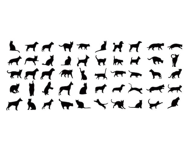 Chiens et chats black silhouette set