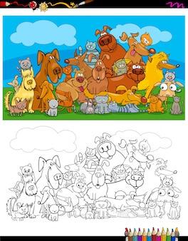 Chiens et chats caractères livre de coloriage