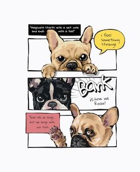 Chiens de dessin animé dans l'illustration de style de panneau de bande dessinée