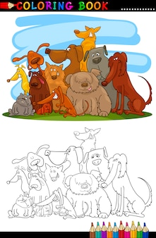 Chiens de dessin animé pour coloring book ou page