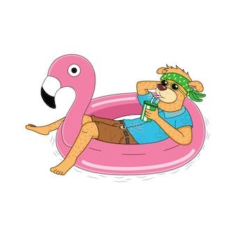Chiens de dessins animés se détendent dans des bouées