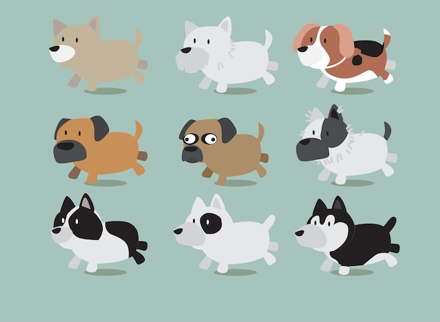 Chiens différents types de chiens vector illustration