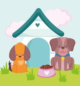 Chiens mignons assis avec maison et nourriture dans l'illustration vectorielle herbe