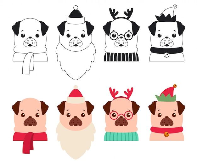 Chiens de noël dans les costumes du père noël, renne et elfe. jeu de dessin animé de vecteur de chiots mignons isolés