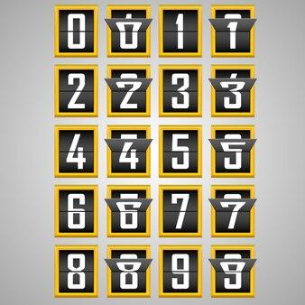 Chiffres de l'alphabet du tableau de bord mécanique. illustration vectorielle