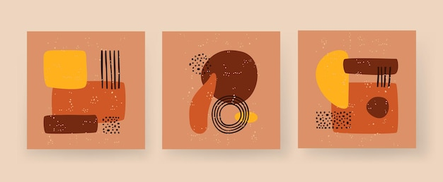 Chiffres boho géométriques minimalistes rectangle abstrait et cercle une arche