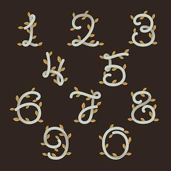 Les chiffres définissent des logos avec des feuilles d'or.