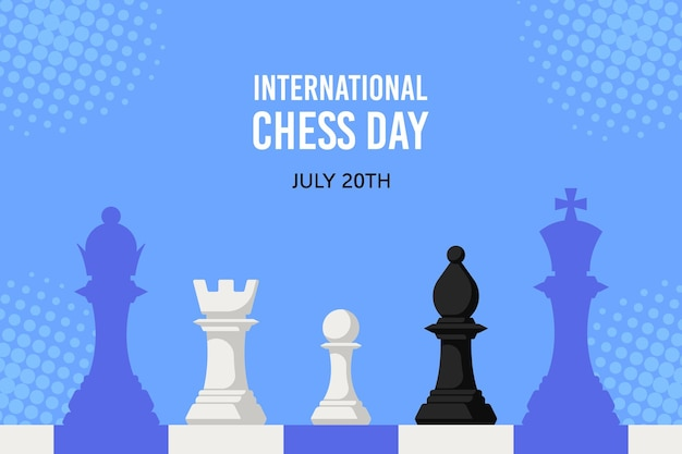 Chiffres d'échecs contre échiquier isolé. bannière de la journée internationale des échecs