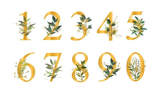 Chiffres floraux dorés avec des feuilles vertes et éclaboussures d'or isolés