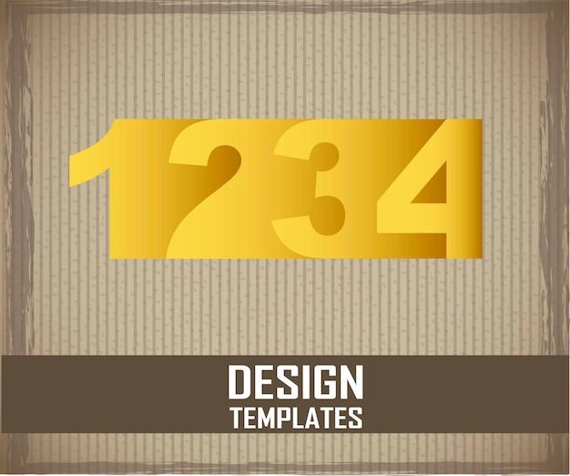 Chiffres jaunes sur illustration vectorielle fond carton