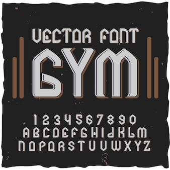 Chiffres et lettres des éléments de police de gymnastique avec illustration d'étiquette de texte