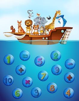 Les chiffres sous l'eau et les animaux sur le navire
