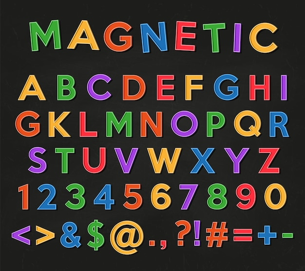 Chiffres et symboles de l'alphabet lettres et chiffres d'aimants colorés sur un tableau noir d'école