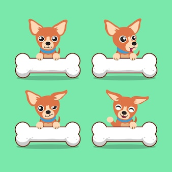 Chihuahua chien de dessin animé personnage avec de gros os
