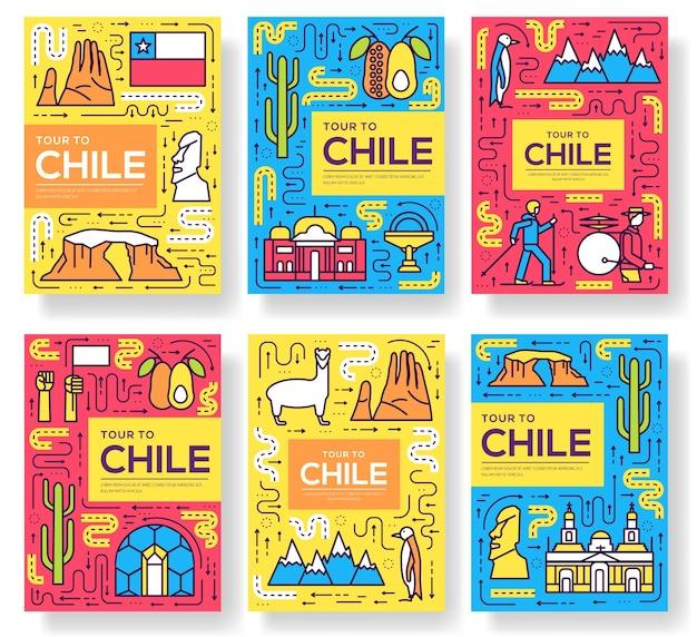 Chili cartes fine ligne définie illustration