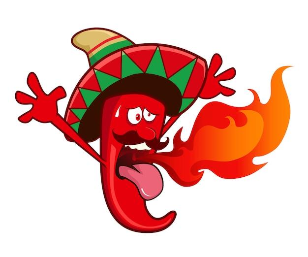 Chili chaud dessin animé mascotte épicée
