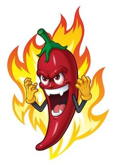 Chili dessin animé en feu
