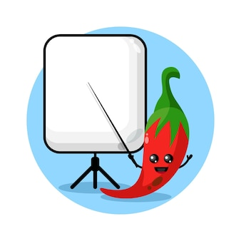 Chili devient un logo de personnage mascotte d'enseignant