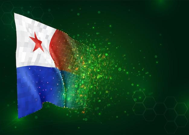 Chili, drapeau 3d sur fond vert avec des polygones