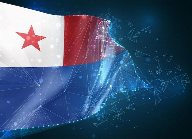 Chili, drapeau, objet 3d abstrait virtuel de polygones triangulaires sur fond bleu