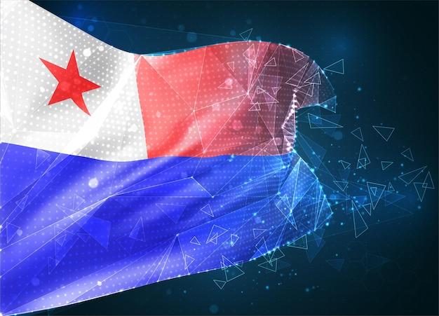 Chili, drapeau vectoriel, objet 3d abstrait virtuel à partir de polygones triangulaires sur fond bleu