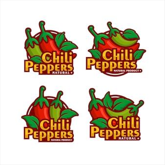 Chili peppers design de produits naturels collection premium